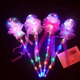 led fairy wands NZ - Kids LED Fairy Sticks Magic Flashing Lights Bobo Ball Wand Starry Sky Luminous Lights Handheld Balloons with Bow Child Party Favor B81402