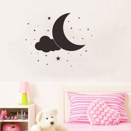 $enCountryForm.capitalKeyWord Australia - Black Moon Stars and Cloud Wall Vinyl Stickers Removable Ins Art Decals for Kids Room and Nursery Decor