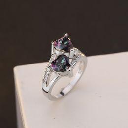 Crystal For Women Australia - Tisonliz Double Heart 5 Colors Crystal Promise Silver Engagement Ring Vintage Bridal Wedding Rings for Women Female Jewelry Gift