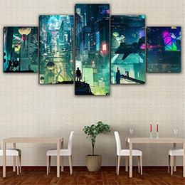 $enCountryForm.capitalKeyWord Australia - (Unframed Framed) Cyberpunk City,5 Pieces Canvas Prints Wall Art Oil Painting Home Decor 10x16x2