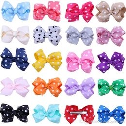 Pink Blue Hair Ribbon Clips Australia - pretty DOT Baby Ribbon Bows With Clip Grosgrain Gairclips Hairclips Girls Barrettes children Hair jewelry