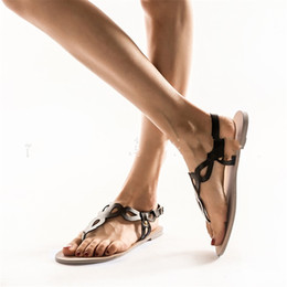 d03553ed9adb Summer Beach Shoe Seaside Open Toe Sandal Female Flat Heel Hollowing Out  Design Black White Soft Fashion 24hm C1