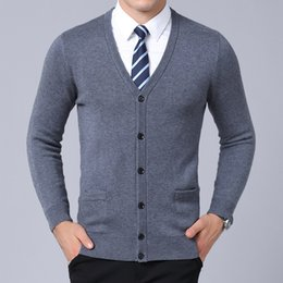 European Style Cardigan For Men Australia - 2019 New Fashion Brand Sweater For Mens Cardigan V Neck Slim Fit Jumpers Knitred Warm Winter Korean Style Casual Mens Clothes #530761