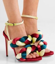 Real Sexy Pictures NZ - real picture Roman Design Solid Color Twist Braid Sexy High Heel Sandal Hollow-Out Open Toe Weaving Ankle-Wrap Buckle Women Shoe