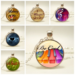 necklaces pendants Australia - New Grand Piano Keys Picture Necklace Music Piano Glass Cabochon Pendant I Love Music Jewelry Necklace For Music Enthusiast