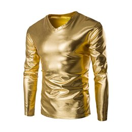 Mens brevetto a maniche lunghe T-shirt Nightclub metallico lucido stile Hip Hop Pullover T-shirt fredda rivestito d'oro Top Camiseta