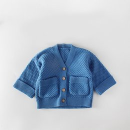 Boys toddler spring jackets online shopping - 0 month Baby Sweater Infants girls boys knitting coat with pockets ins hot toddlers surcoat knit crochet jacket with wooden buttons