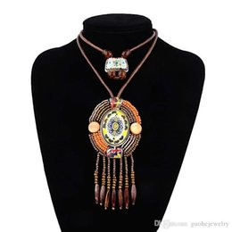 $enCountryForm.capitalKeyWord Canada - Vintage leather necklaces for women Ethnic resin bead leather necklace Bohemian style pendant necklace free shipping