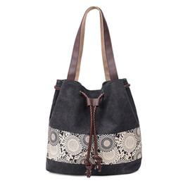 $enCountryForm.capitalKeyWord UK - Fashion Women Canvas Shoulder Bag Ladies Handbags Literature Printing Canvas Casual Tote Lace Flower Girls Crossbody Bag Pt1232