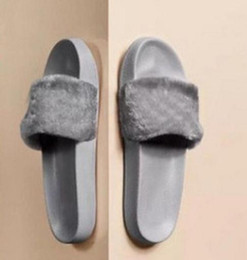 Girls Without Shoes Australia - 2019Leadcat Fenty Rihanna Shoes Women Slippers Indoor Sandals Girls Fashion Scuffs Pink Black White Grey Fur Slides Without Box High Quality