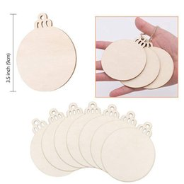 christmas ornament crafts silver NZ - 50pcs DIY Craft Wooden Round Bauble with 50pcs Twines to Paint, Unfinished Christmas Hanging Ornaments Natural Blank Wood Discs