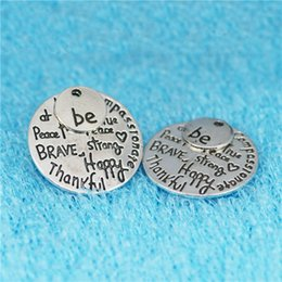 brave charm NZ - 20pcs 28MM be Kind Wise compassionate brave strong happy thankful true free peace inspirational charms DIY Jewelry Pendant Alloy Accessories