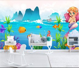 $enCountryForm.capitalKeyWord Australia - 3d room wallpaper custom photo non-woven mural Landscape underwater world cute cartoon mermaid children's room background wall wall-pap