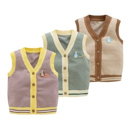 $enCountryForm.capitalKeyWord UK - Stripe Baby Sweater Vest V-Neck Sleeveless Outfit for Toddler Kids Boys Girls Button Closure Comfort Cotton Cardigan Children