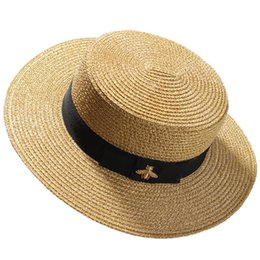 Wholesale Woven Wide brimmed Hat Gold Metal Bee Fashion Wide Straw Cap Parent child Flat top Visor Woven Straw Hat