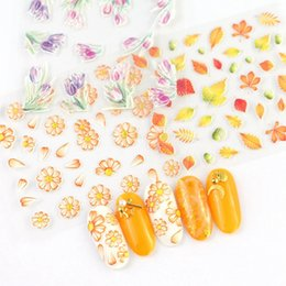 Red nail aRt diy online shopping - 1Sheet D Nail Art Sticker Embossed Water Decals Flower Leaf Pattern Nail Tips DIY Manicure Sticker Styles