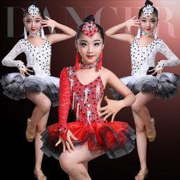 06153d7cb latin flamenco ballroom dance competition dresses for girls sequin salsa  rumba tango samba cha cha dress kids children costumes