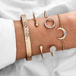 titanium bracelets Australia - European and American cross-border jewelry geometric diamond circle round opening grain moon chain bracelet bracelet four-piece