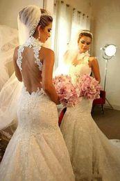 $enCountryForm.capitalKeyWord Australia - Modest Mermaid Wedding Dresses Berta Sexy Sheer Back Mermaid Wedding Dress Spaghetti Straps Lace Appliqued Bridal Gown Saudi
