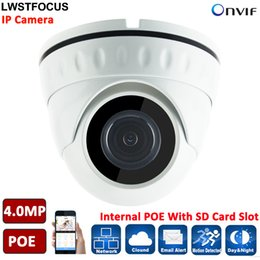 poe dome network camera UK - H.265 264 LWIRDNS400 4MP Network IP Camera security IP67 Dome Camera POE SD Card Slot Optional ONVIF 2.4 With WDR IR CUT 20M IR
