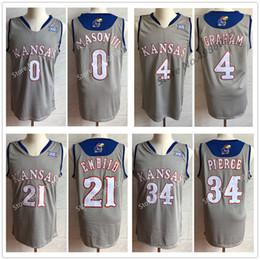 41efdf6fb Kansas Jayhawks KU College Frank Mason III 0 Devonte Graham 4 Malik Newman  14 Joel Embiid 21 Paul Pierce 34 Basketball Jersey Men's Stitched