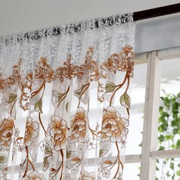 scarf valances NZ - Voile Curtain Window Curtain Flower Print Divider Tulle Voile Drape Panel Sheer Scarf Valances Curtains Living Room Bedroom Decor