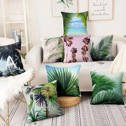 CoConut deCor online shopping - Summer Style Thin Linen Printed Pillowcase Coconut Forest Sea Breeze Home Decor Sofa Throw Pillow Almofada Decorativas Para Sofa