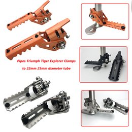 tube pipe clamps NZ - For R1200GS LC 2013-2019 Motorcycle Highway Pegs Pegs For Pipes Tiger Explorer Clamps to 22mm 25mm diameter tube New