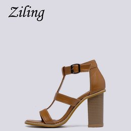 819d011a1df6 Sexy2019 Ziling 1001 Korea Single Big Card Solid Color Toe Hollow Out  Coarse High With Sandals T Buckle Type Bring Women s Shoes