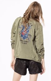 long army skirt Canada - KID Skull Playing Guitar Back Embroidered Cotton MILI Parka Jacket Front Pockets Button UP Long Sleeves Fashion jackets woman Y200101