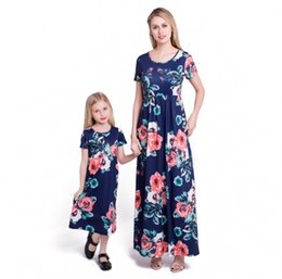 $enCountryForm.capitalKeyWord Australia - Summer INS Desings Girl Floral Print Maxi Dress Kids Summer Short Sleeve Dresses Loose Cute Long Skirts Family Matching Outfits