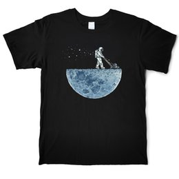 moon printed tee NZ - Working On The Moon Funny Astronaut T Shirt Designer Men Cotton T-Shirt O'Neck Short Sleeve Street Big Size Tees Shirt Casual Printed Tops