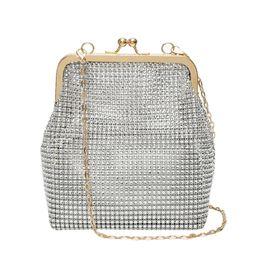 $enCountryForm.capitalKeyWord NZ - New Korean Fashion Small Women Handbag Clutches Clip Frame Pouch Chains Crossbody Bag Blingbling Silver Diamond Purse Dressed
