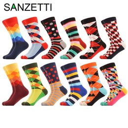$enCountryForm.capitalKeyWord NZ - Sanzetti 12 Pairs lot Men's Funny Colorful Combed Cotton Socks Red Argyle Dozen Pack Casual Design Socks Dress Wedding Socks T2190613