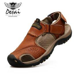 size 44 sandals 2019 - 2019 Men Summer Sandals Genuine Leather Casual Shoes Man Roman Style Beach Sandals Brand Men Summer Shoes Big Size 38-44