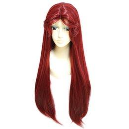 Cosplay Wig Wine Red Female Long Straight Hair Simulation Scalp High Temperature Silk Matte Chemical Fiber Wig