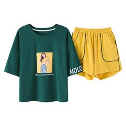 Korean Color Block Summer Loose Cute Pajamas Women Cotton Pajama Set Short  Sleeve Elastic Waist Sleepwear Lounge pyjamas S93218 3ce0a4482