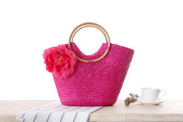wholesale cotton beach totes NZ - New Lady Fashion Handbags Flower Decoration Stylish Vogue Summer Holiday Beach Straw Style Girls Lady Love Totes Shoulders Bag Handbag