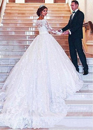 $enCountryForm.capitalKeyWord Australia - Off The Shoulder Lace A Line Wedding Dresses with Illusion Long Sleeves Sexy Sheer Neck Tulle Applique Court Train Bridal Gowns With Buttons