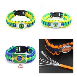 Discount paracord sports - Brazil Flag Charm Paracord Friendship Outdoor Camping Sport Bracelets & Bangles 10pcs lot