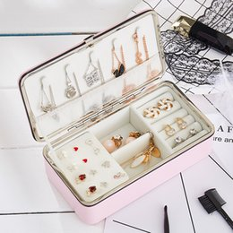 $enCountryForm.capitalKeyWord Australia - Protable Travel Leather Jewelry Multi-function Storage Box Case Holder Earring Necklace Simple Girl Plate Leather Organizer Box