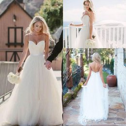 $enCountryForm.capitalKeyWord UK - 2019 Vintage Ivory Spaghetti Straps Tulle Sweetheart Neckline Long Wedding Dresses Floor Length Backless Beach Bridal Gowns