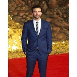 celebrity red tuxedo UK - New Custom Blue Men Suits Wedding Celebrity Red Carpet Two Buttons Prom Suits (Jacket+Pants) Evening Party 603