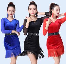 39c4893d9d3 Adult Children tassel Latin Dance Dress Women Girls Lady Cha Cha Rumba  Samba Tango Ballroom Dance Skirt Latin Performance Wear
