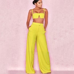 summer two piece sets women NZ - Strapless High Waist Sexy Crop Top And Pants Set Pockets Summer Strap Two Piece Set Backless Casual Women Tracksuit