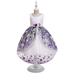 $enCountryForm.capitalKeyWord Australia - Pink Blue Purple Princess Bomb Embroidered Flower Long Trailing Dress For Girl Host Costume 5 Years 6 Years