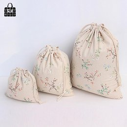 Flower Shoes Kids NZ - Flower branches coon linen fabric dust cloth bag Clothes socks underwear shoes receive bag home Sundry kids toy storage bags