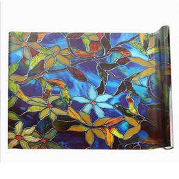 $enCountryForm.capitalKeyWord Australia - Window Sticker Static Cling Stained Glass Decorative Window Film Orchid Camellia Flower Film Stained Glass Sticker,45X2