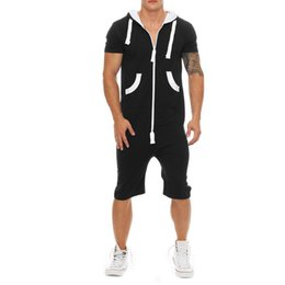 $enCountryForm.capitalKeyWord UK - SHUJIN 2019 Casual Tracksuit Jumpsuit Mens Overalls Summer Short Sleeve Hoodies Sweatshirt Sportwear Short Pants Zipper Romper