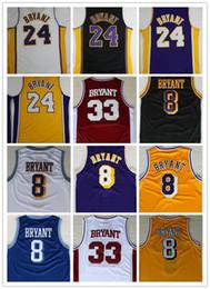 Großhandel Neuheiten Herren KOBE BRYANT Baseball Trikots # 8 Bryant # 24 Kobe # 33 All Stitched Logo Best Quality